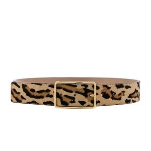 Milla Real Calf Hair Belt in Gold Leopard